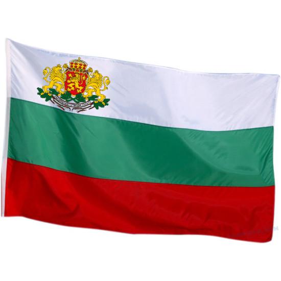 Български флаг с бродиран герб